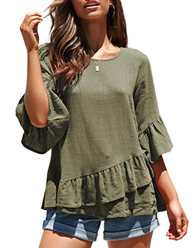 MIROL Women's Spring Half Sleeve Solid Color Ruffle Hem Tunic Shirt Blouse Tops Green