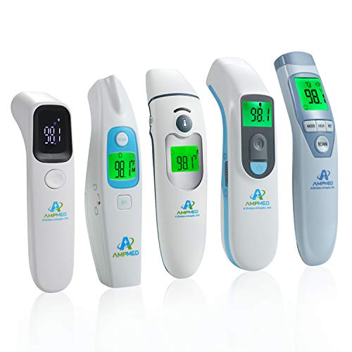 5-Pack Bundle - Amplim Non-Contact Touchless Infrared Digital Forehead Thermometer for Adults and Baby Hospital Medical Grade No Touch