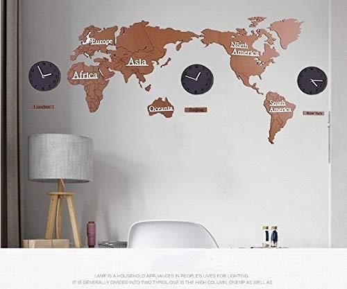 ウォールクロック世界地図クリエイティブ北欧diyのリビングルーム3d大型サイズの木製の壁の装飾壁のステッカークロック壁時計、複数の色 (Color : Wood map black clock, Size : 1.3m)   B07QXVRJ4X