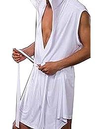 TESOON Mens Summer Sexy Silky Sleeveless Short Bathrobes with Hooded