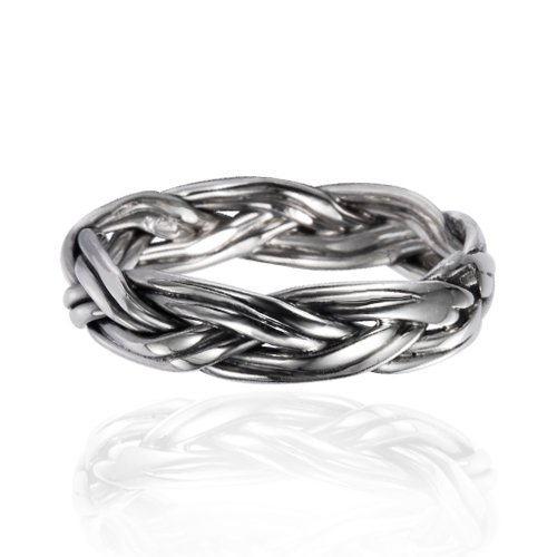 htm white gold diamond braided p ring rings woven stackable
