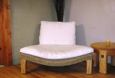 Seagrass Meditation Yoga Chair - Expresso With Cream Cushion (Rattan Meditation Chair)