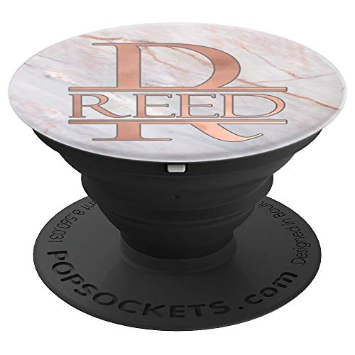 (Reed Monogram Rose Pink on White PAAM155 - PopSockets Grip and Stand for Phones and Tablets)