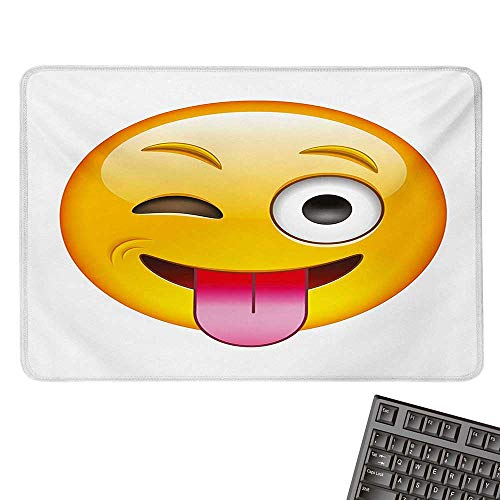 Mouse PadCartoon Like Technologic Smiley Flirty Sarcastic Happy Face with Tongue Modern PrintNonslip Rubber Base 15.7