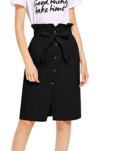 (WDIRARA Women's High Ruffle Waist Belted Knee Length Button Up Skirt Black XS)
