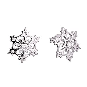 Newshe Christmas Star Snowflake Stud Earrings for Women Round White AAA Cz 925 Sterling Silver Gemstone