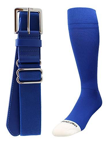 MadSportsStuff Pro Line Softball Socks and Belt Combo (Royal, X-Large)