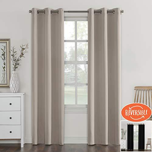 Sun Zero Campus Reversible Fleece Lined Blackout Grommet Curtain Panel, 40