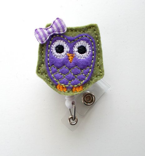 Olive and Purple Owl with bow - Cute Badge Holder - Nurses Badge Holder - Felt Badge - Nursing Badge Holder - RN Badge Reel - Teacher Badge