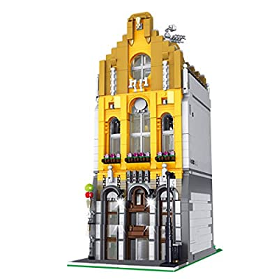 WOLFBSUH 2605Pcs 3D Steet View Ice Cream Shop MOC Building Blocks DIY Construction Model with Light: Toys & Games