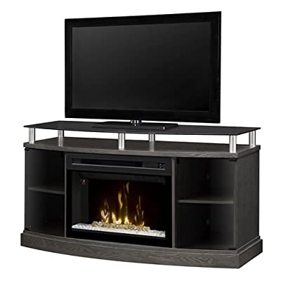 "DIMPLEX Windham Media Console Electric Fireplace with 25"" Multi-Fire Curved Glass Firebox Silver & CHARCOAL/1500"