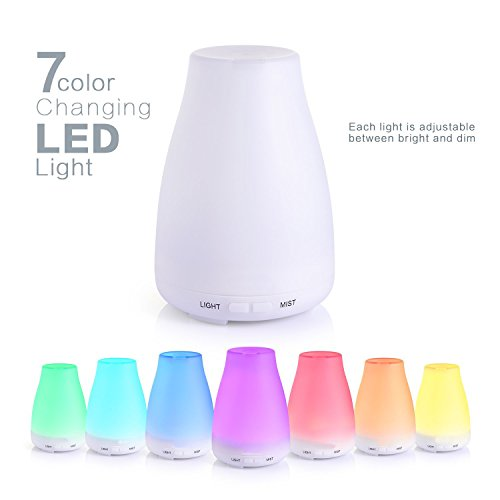 XCT Version Essential Oil Diffuser, 100ml Aroma Essential Oil Cool Mist Humidifier with Adjustable Mist Mode,Waterless Auto Shut-off and 7 Color LED Lights Changing for Home Office Bedroom Room Baby