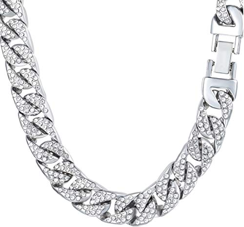 Bforward Jewelry Iced Out Miami Cuban Link Chain White Gold Finish Simulated Diamonds Necklace/Bracelet 14MM (8-30 inches)-Men Boys (20)