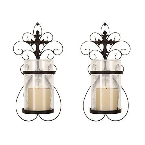 DecentHome Decorative Hurricane Pillar Candle Black Wall Sconces Holder Set of 2 Iron Finish Vine Pattern
