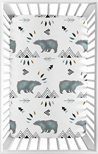 Sweet Jojo Designs Blue White Watercolor Baby Boy Fitted Mini Portable Crib Sheet Bear Mountain Collection - for Mini Crib or Pack and Play ONLY