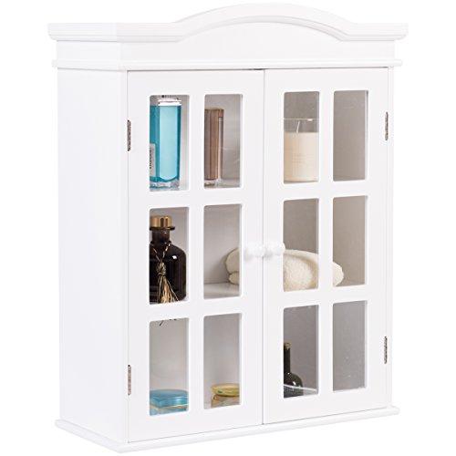Tangkula Bathroom Cabinet Wall Mount Adjustable Shelf Elegant Two Door Collection Storage Medicine Cabinet White (White)