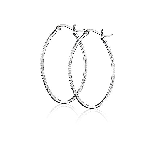 925 Sterling Silver Hammered Large Oval Geometric Geo Modern Minimalist Hoop Earrings, 44mm (Earrings Hammered Oval Silver)