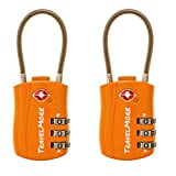 2 Pack TSA Approved Travel Combination Cable Luggage Locks for Suitcases & Backpacks - Orange