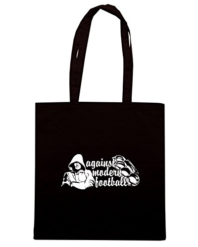 T-Shirtshock - Bolsa para la compra T0370 against modern football calcio ultras Negro