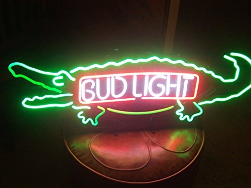 Desung New 20''x12'' B ud Light Alligator Gator Neon Sign (Multiple Sizes Available) Man Cave Signs Sports Bar Pub Beer Neon Lights Lamp Glass Neon Light CX225 by DESUNG