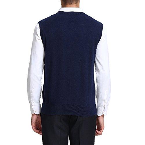 CHAUDER Men's Relax Fit V-Neck Vest Knit Sweater Cashmere Wool Blend Navy Blue, L by CHAUDER (Image #1)