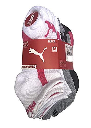 PUMA Girls No Show Sport Socks 8 Pack (7-8.5)