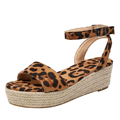 Women High Wedges Sandals,❤️ FAPIZI Ladies Summer Espadrille Heel Platform Wedge Sandals Ankle Buckle Closed Toe Shoes