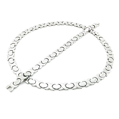 (NEW 11mm Width Womens Silver Tone XOXO Stampato Necklace and Bracelet Set 18/20