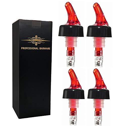 Automatic Measured Bottle Pourer - Quick Shot Spirit Measure Pourer Drinks Wine Cocktail Dispenser Home Bar Tools Pack of 4, 1 oz (30 mL) (red)