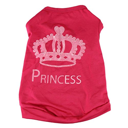 Little Doggie Costumes (Pet shirts, Howstar Puppy Stylish Princess Crown Print Clothes Doggy Costume Apparel (XS))