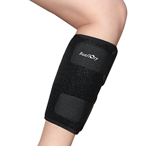 Runflory Calf Shin Support Brace, Adjustable Calf Brace Compression Leg Sleeve Wrap Band for Running, Sports - Great Shin Support Improves Blood Circulation & Reduces Leg Swelling Injury - Black by Runflory