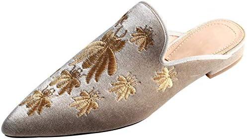 Details about  /Womens Velvet Floral EmbroideryPointed Mules Slipper Retro Slides Shoes KK01