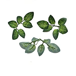 Yalulu 50pcs Green Artificial Leaves Wedding Home Decoration Rose Leaves DIY Cut and Paste Craft False Flowers Artificial Plants 82