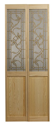 Pinecroft 861730 Giverny Half Glass Bifold Interior Wood Door, 36'' x 80'', Unfinished by LTL Home Products