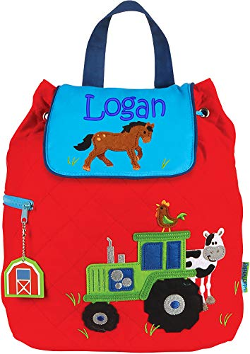 - Monogrammed Me Personalized Quilted Backpack, Red Boy Farm Tractor, with Embroidered Name