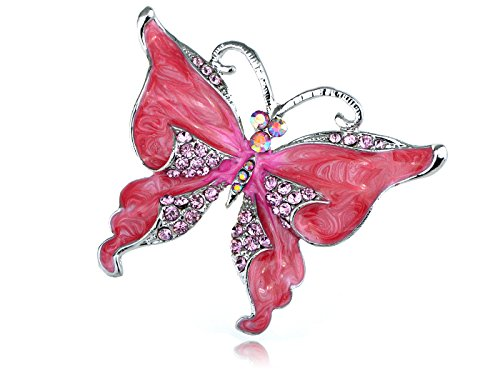 Alilang Silvery Tone Dark Pink Rhinestones Glitter Butterfly Insect Brooch Pin