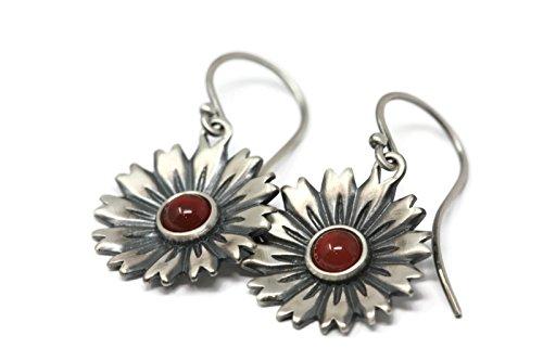 Carnelian and Sterling Silver Flower Earrings in Antique Finish