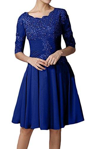 mit La Promkleider Spitze Brautmutterkleider Blau Knielang Langarm Braut Marie Tanzenkleider Abendkleider Glamour Royal qrYzBwq