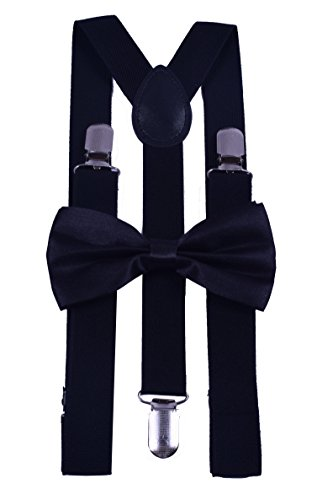 BODY STRENTH Adjustable Suspenders&Bow Tie Set Strong Clips Y-Shape Black 1 (Glitter Suspenders)