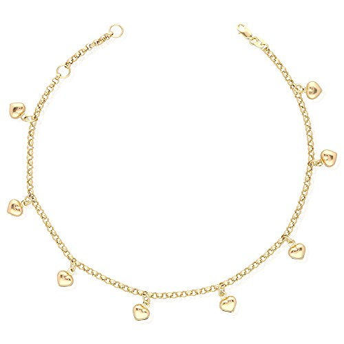 14k Yellow Gold White Gold Tri-Color Gold Heart Charm Hollow Anklet Bracelet 9
