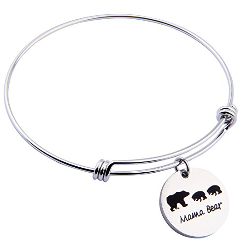 ENSIANTH Sweet Family Mama Bear Adjustable Bracelet Stainless Steel Bangle Family Jewelry Gift for Mother (2 Cubs Bear)