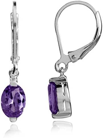 1.44ct Natural African Amethyst 925 Sterling Silver Dangle Leverback Earrings