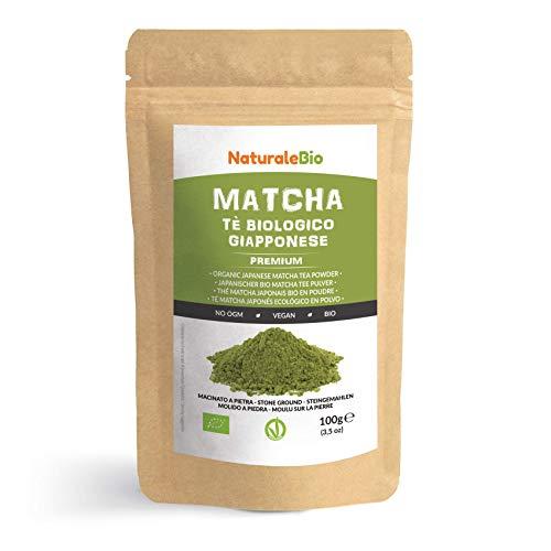 Matcha Tee Pulver Bio [Premium-Qualität] 100g. Original Green Tea aus Japan. Japanischer Matcha ideal zum Trinken. Grüntee-Pulver für Latte, Smoothies, Matcha-Getränk. Hergestellt in Uji, Kyoto.