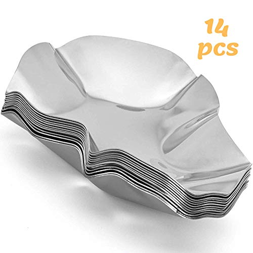 Oyster Shells Stainless Steel Reusable - large Oyster Grilling Pan - Metal Oyster Baking Dish - Premium Set of 14 Great for Seafood of all Kind