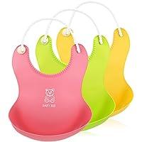 Itaar bebé baberos de silicona resistente al agua alimentación Catcher 3pcs Roll-up profundo bolsillo con suave Cuello Ajustable