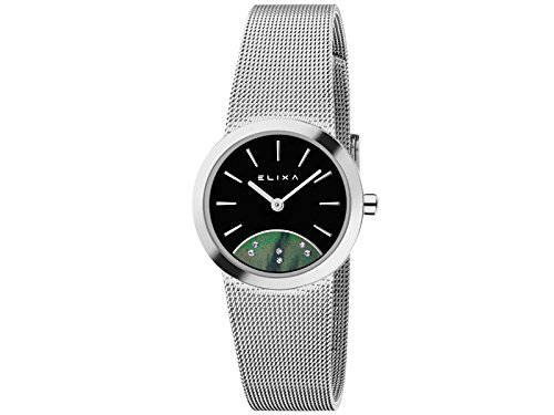 Reloj Elixa Mujer Solo Tempo Lady Camiseta Milano Mesh Silver Black Dial e076-l277: Amazon.es: Relojes