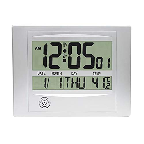 Topkey Digital Wall Clock Desk LCD Alarm Clock Kitchen Timer with Temperature Date Calendar for Office Home - 25cm X 19cm