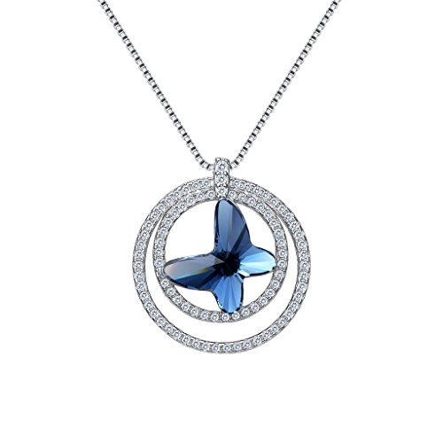 Circle Ring Pave Luxurious - EleQueen 925 Sterling Silver Butterfly Circle Ring Denim Blue Made with Swarovski Crystals CZ Pendant Necklace