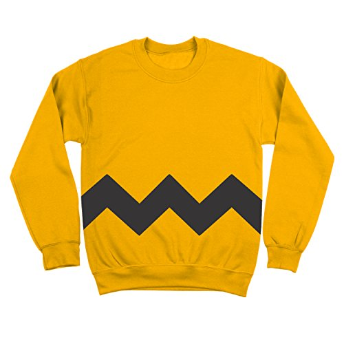 Funny Threads Outlet Charlie Brown Stripe Halloween Costume Cartoon Outfit Adult Mens Sweatshirt Small Yellow ()