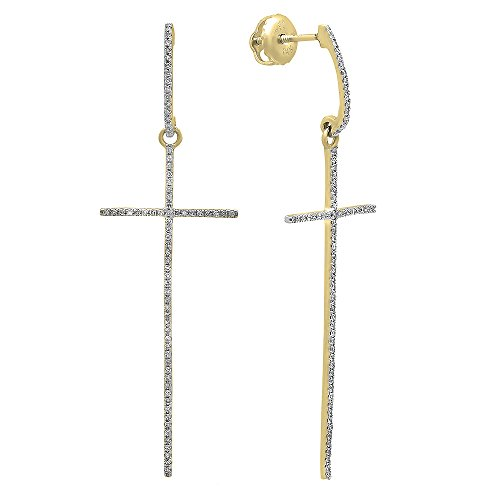 0.20 Carat ctw 14K Gold Round Diamond Ladies Cross Shaped Dangling Drop Earrings 1 5 CT